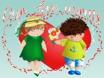 Dia do Valentim feliz Cartão do amor O menino dá à menina um ramalhete no fundo do coração Declaração do amor, proposta a casar-s fotografia de stock royalty free