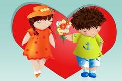 Dia do Valentim feliz Cartão do amor O menino dá à menina um ramalhete no fundo do coração Declaração do amor, proposta a casar-s imagens de stock royalty free