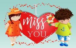 Dia do Valentim feliz Cartão do amor O menino dá à menina um ramalhete no fundo do coração Declaração do amor, proposta a casar-s fotografia de stock