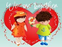 Dia do Valentim feliz Cartão do amor O menino dá à menina um ramalhete no fundo do coração Declaração do amor, proposta a casar-s foto de stock royalty free