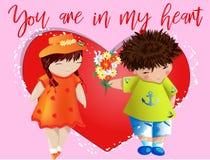 Dia do Valentim feliz Cartão do amor O menino dá à menina um ramalhete no fundo do coração Declaração do amor, proposta a casar-s imagens de stock