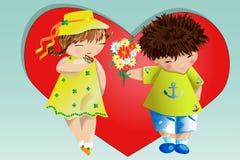Dia do Valentim feliz Cartão do amor O menino dá à menina um ramalhete no fundo do coração Declaração do amor, proposta a casar-s imagem de stock