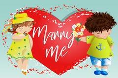 Dia do Valentim feliz Cartão do amor O menino dá à menina um ramalhete no fundo do coração Declaração do amor, proposta a casar-s fotos de stock