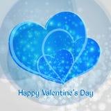 Dia do Valentim feliz Coração de três azuis Foto de Stock Royalty Free