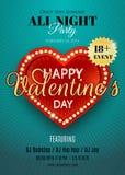 Dia do Valentim feliz Inseto do vetor com coração e luzes vermelhos Fotografia de Stock