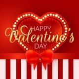 Dia do Valentim feliz Inseto do vetor com coração vermelho Fotografia de Stock