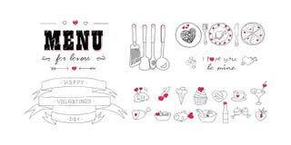 Dia do Valentim feliz Menu para amantes Alimentos com corações Elementos da decoração da garatuja Mão desenhada imagens Imagem de Stock