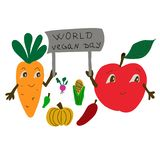 Dia do vegetariano do mundo Feriado internacional de novembro ilustração royalty free