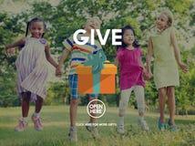 Dia donano la generosità che dà il concetto di aiuto di sostegno Immagini Stock