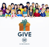 Dia donano la generosità che dà il concetto di aiuto di sostegno Fotografia Stock Libera da Diritti