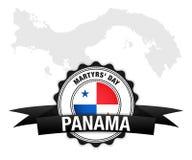 Dia dos mártir de Panamá Vetor da bandeira e do mapa de Panamá ilustração stock