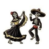 Dia dos mortos, Diâmetro de los Muertos O esqueleto nos trajes nacionais mexicanos dança, canta e joga a guitarra ilustração royalty free