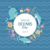 Dia dos oceanos do mundo Animais de mar Ilustração do vetor imagem de stock