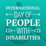 Dia dos povos com fundo do conceito das inabilidades, estilo dos desenhos animados ilustração do vetor