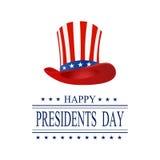Dia dos presidentes Cartão em um fundo branco A inscrição com os desejos da felicidade Isolado stylized ilustração stock
