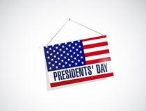 dia dos presidentes nós ilustração de suspensão da bandeira Imagens de Stock Royalty Free