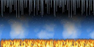 Dia e incêndio e gelo da noite Fotos de Stock