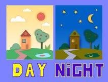 Dia e noite casas com árvores Ilustração lisa do vetor do estilo Fotografia de Stock