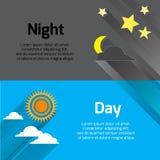 Dia e noite com sol, estrelas e lua com sombras longas Fotografia de Stock Royalty Free