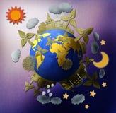 Dia e noite do mundo. Imagens de Stock Royalty Free