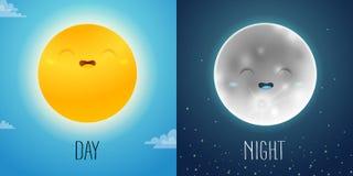 Dia e noite ilustração com caráteres bonitos do sol e da lua ilustração do vetor