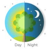 Dia e noite ilustração conceptual do vetor descrita no globo da terra Imagens de Stock