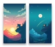 Dia e noite paisagem lisa da montanha do vetor com lua, sol e nuvens no céu Conceito do vetor para o tempo app ilustração stock