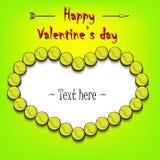 Dia e quadro do ` s do Valentim das bolas de tênis ilustração do vetor