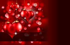 Dia elegante Flayer do Valentim do vermelho e do ouro Foto de Stock