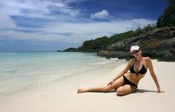Dia em uma praia Imagens de Stock Royalty Free