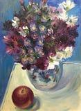 Dia ensolarado brilhante de tiragem, flores selvagens no vaso de vidro ilustração do vetor