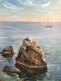 Dia ensolarado brilhante de tiragem, nadada do barco longe ilustração stock