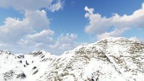 Dia ensolarado da montanha coberto de neve do panorama filme
