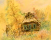 Casa velha em setembro ilustração do vetor