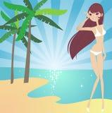 Dia ensolarado na praia ilustração do vetor