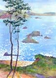 Dia ensolarado no mar ilustração stock