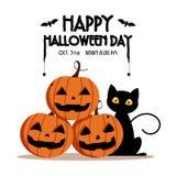 Dia feliz, bastão e aranha de Dia das Bruxas no texto, do gato em assustador do sorriso bonito da abóbora partido assustador mas  Fotografia de Stock