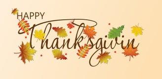 Dia feliz da ação de graças do cartão com folhas de bordo do outono ilustração royalty free