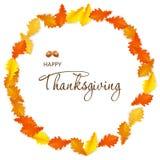 Dia feliz da ação de graças do cartão com folhas de bordo do outono ilustração stock