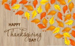 Dia feliz da ação de graças do cartão com fundo da madeira do leaveson do bordo do outono ilustração stock