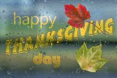 Dia feliz da ação de graças escrito na condensação da bolha do pulverizador do pingo de chuva Fotos de Stock Royalty Free