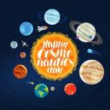 Dia feliz da cosmonáutica, bandeira Conceito do espaço, do cosmos, da galáxia, dos planetas e das estrelas Ilustração do vetor do ilustração royalty free