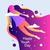Dia feliz da juventude Com menina está voando no céu Ilustra??o do vetor ilustração royalty free