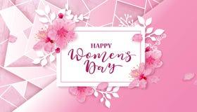 Dia feliz das mulheres s 8 de março com flores Imagens de Stock Royalty Free