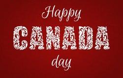 Dia feliz de Canadá Fonte decorativa feita nos redemoinhos e em elementos florais ilustração royalty free