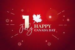 Dia feliz de Canadá, primeiramente de julho Ilustração do fundo do vetor Cores da bandeira e formas de folha de bordo canadenses ilustração stock