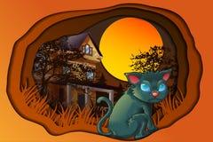 Dia feliz de Dia das Bruxas no estilo dos desenhos animados ilustração stock