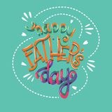 Dia feliz de Father's, mão que rotula o projeto moderno do cartaz da tipografia fotos de stock