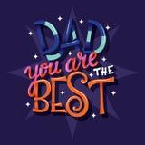 Dia feliz de Father's, paizinho você é o melhor, mão rotulando o projeto moderno do cartaz da tipografia foto de stock