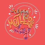 Dia feliz de Mother's, mão que rotula o projeto moderno do cartaz da tipografia foto de stock